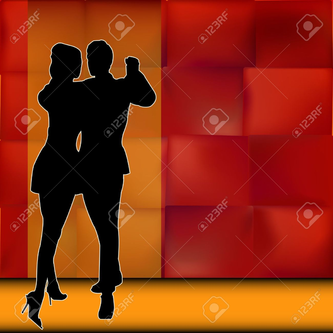 Rumba, Background illustration with a couple of dancers carrying out a Latin American Ballroom Dance Stock Vector - 19603055