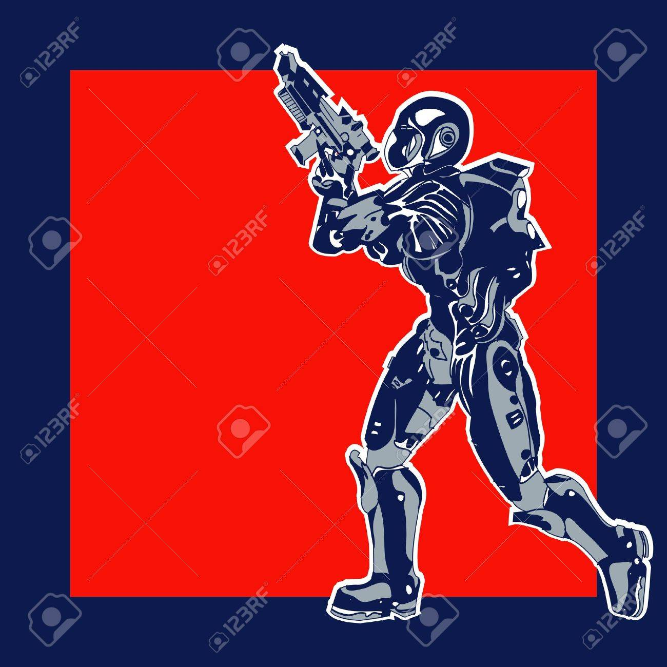 Retro Space Label,  background with an armoured marine in a comic book style Stock Vector - 19832158