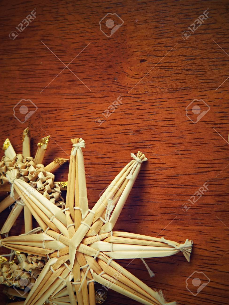 christmas background from straw decorations - 17685537