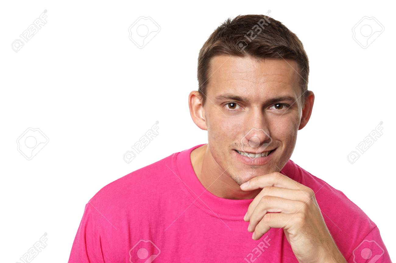 fb4461ca Portrait Of Young Thinking Man In Pink Shirt Stock Photo, Picture ...