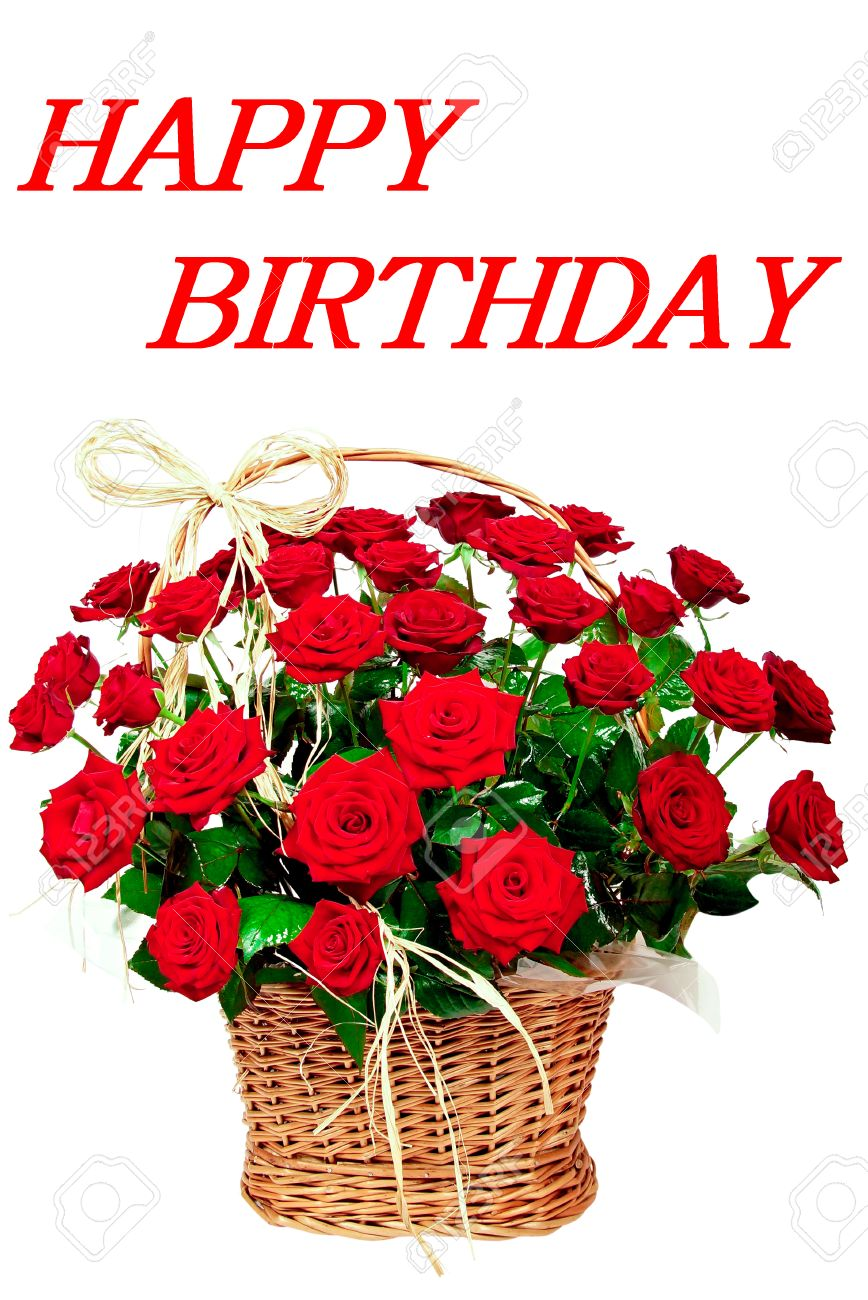 Happy Birthday With Red Beautiful Roses In A Basket Stock Photo