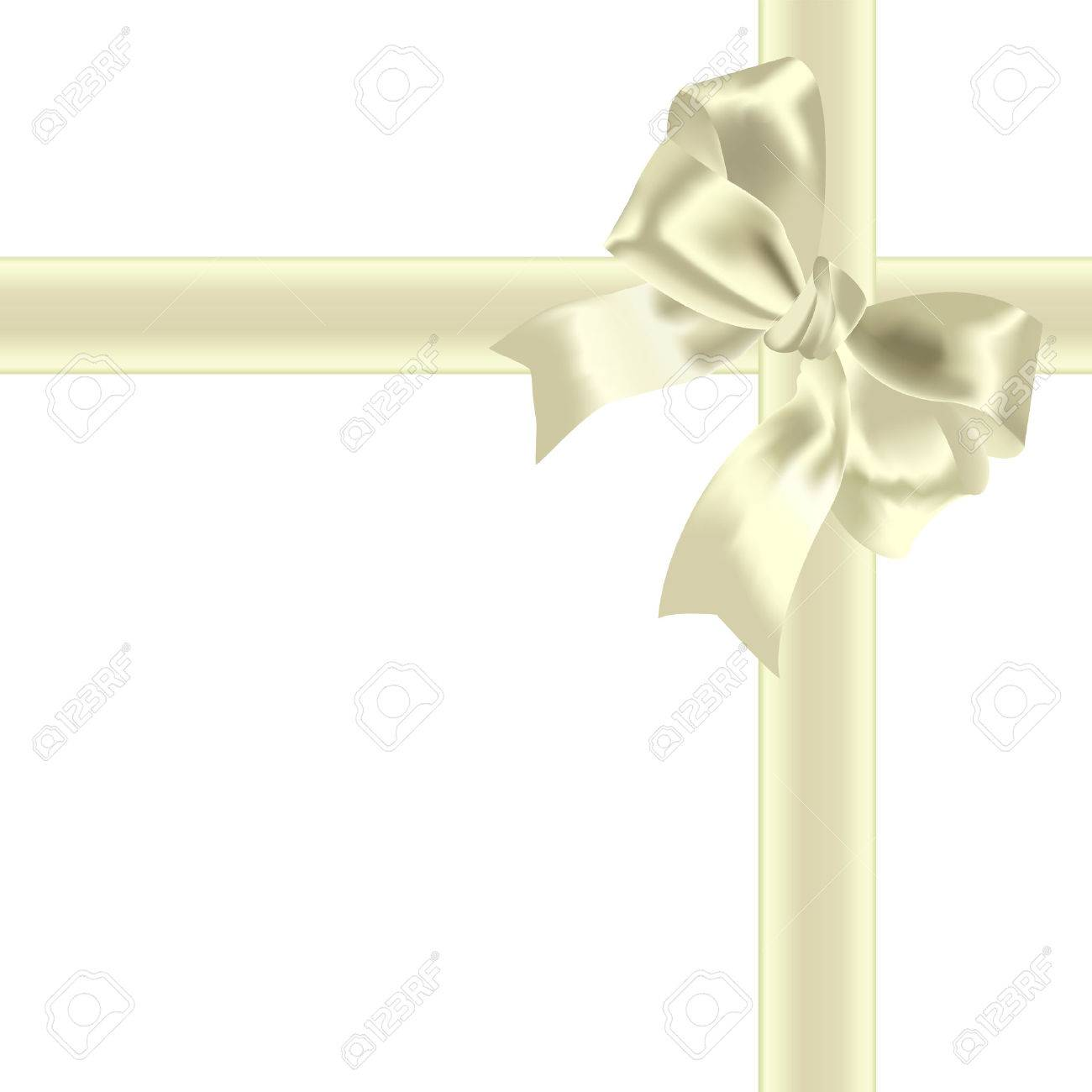 Yellow bow and tape on a white background Stock Vector - 7535539