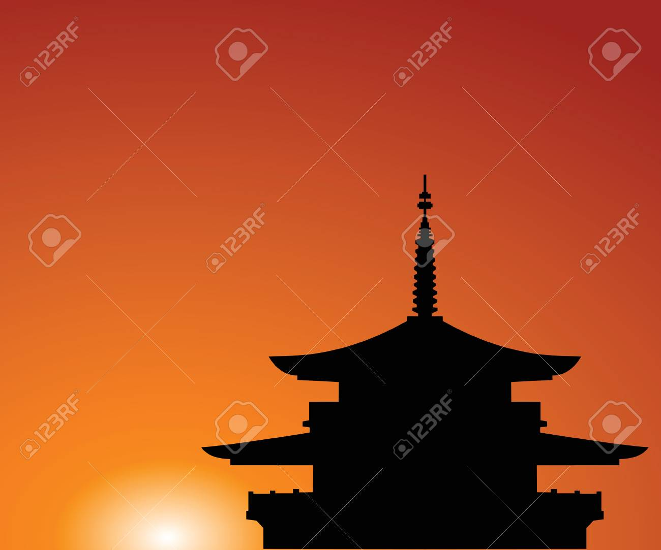 Silhouette of a building in Asia on a background of the sky Stock Vector - 7535611