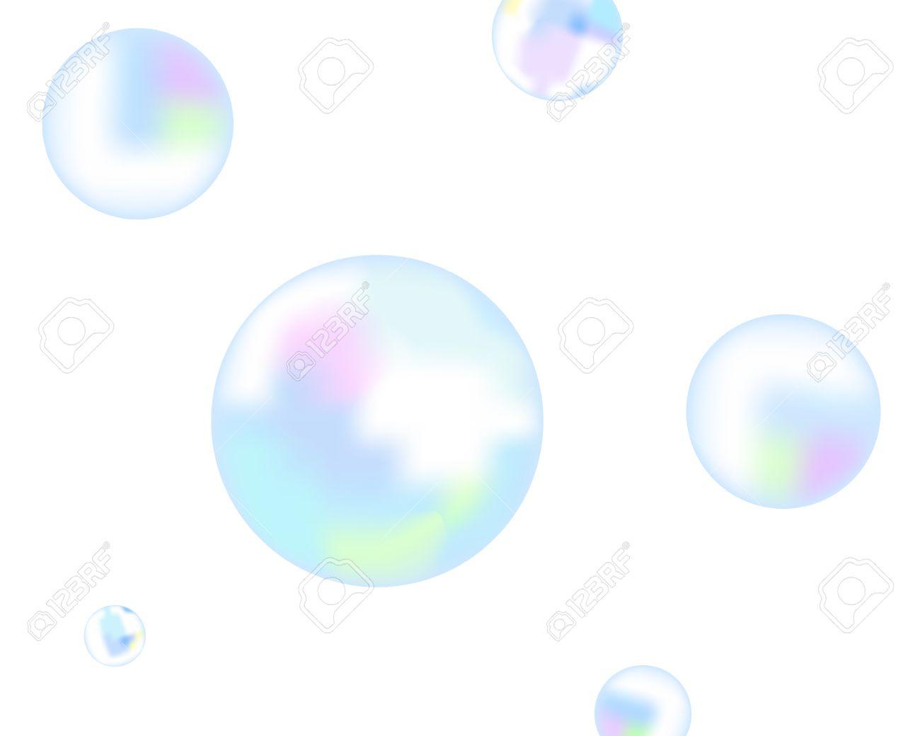 シャボン玉白い背景の上を飛ぶのイラスト素材ベクタ Image 7670450