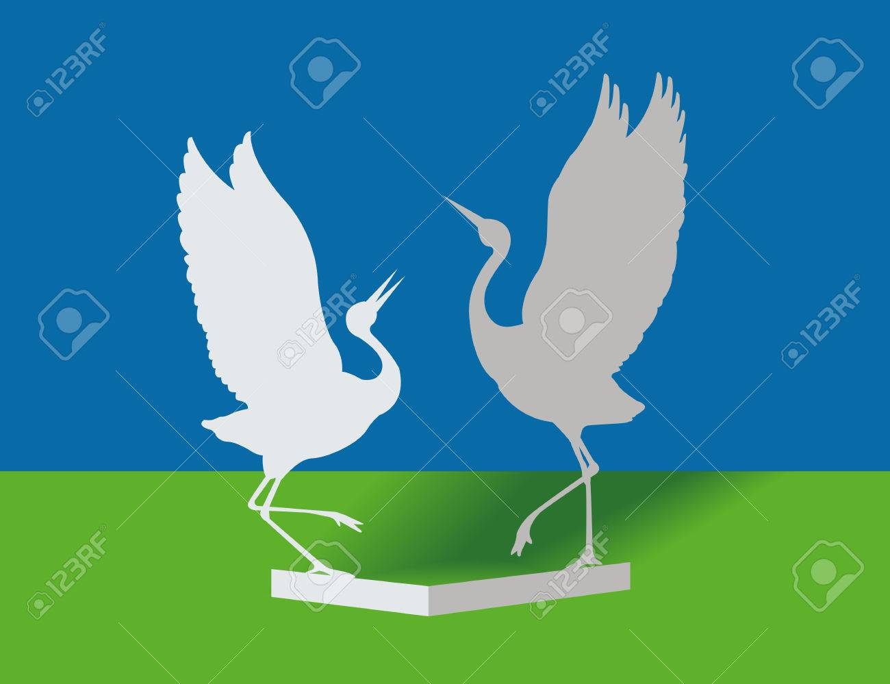 Birds from a paper. Dance of love Stock Vector - 7670270