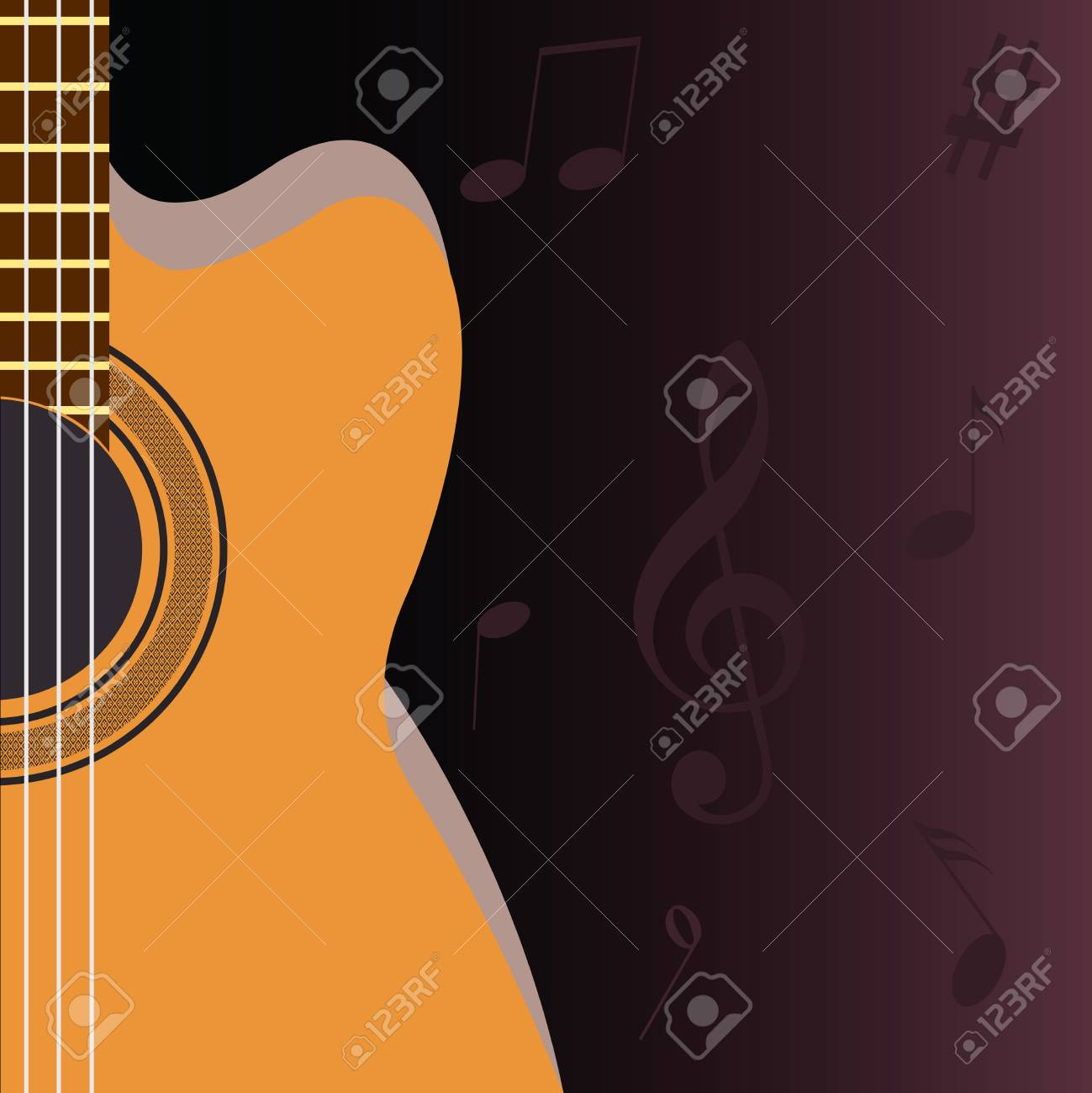 Guitar and musical notes on a dark background Stock Vector - 8334834