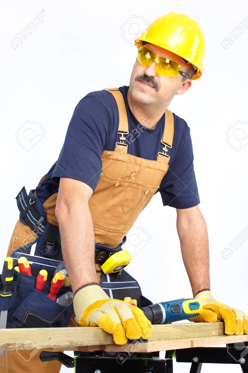 Mature contractor working. Over white background Stock Photo - 8378619