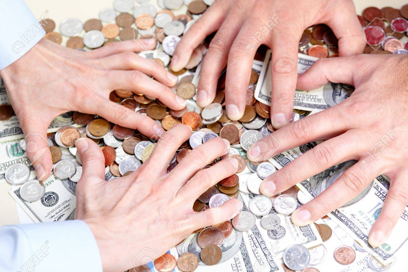 Business people with cash, money, bills, coins Stock Photo - 8428464