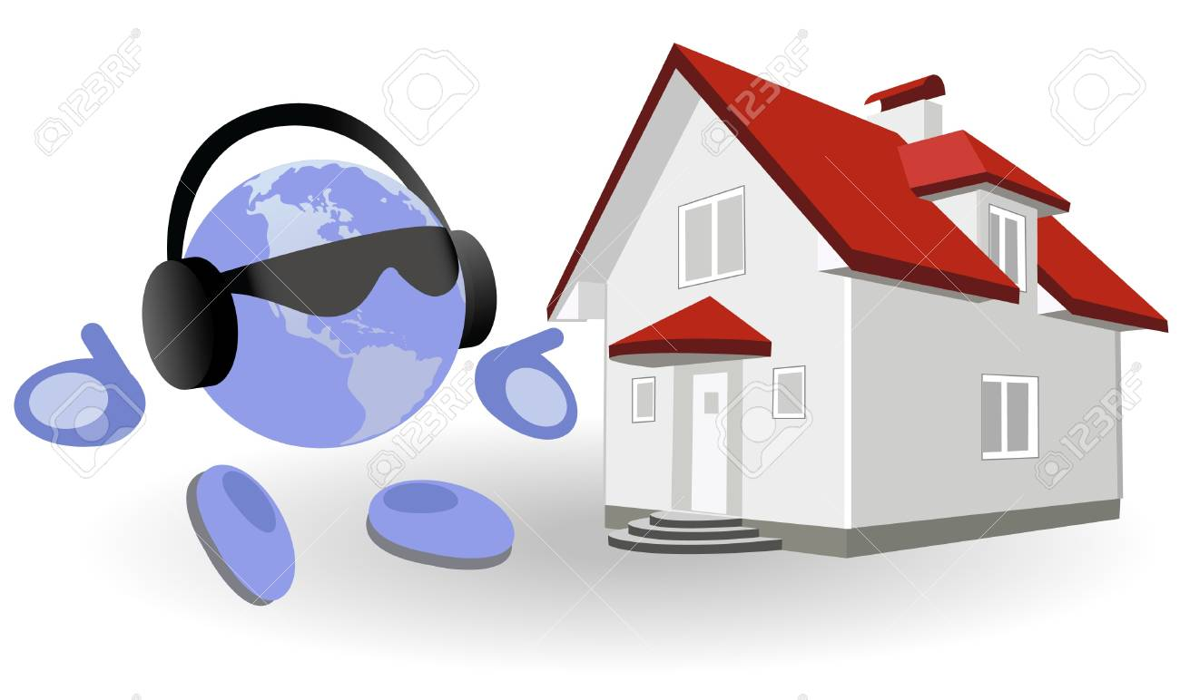 The round man and cottage on a white background Stock Vector - 9662958