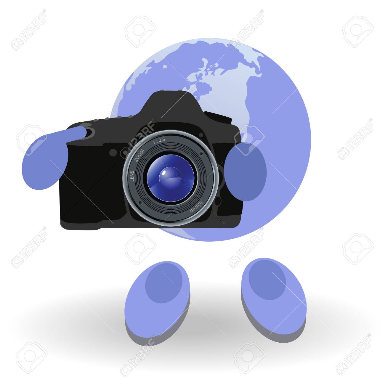 The round man and reflex camera on a white background Stock Vector - 9718823