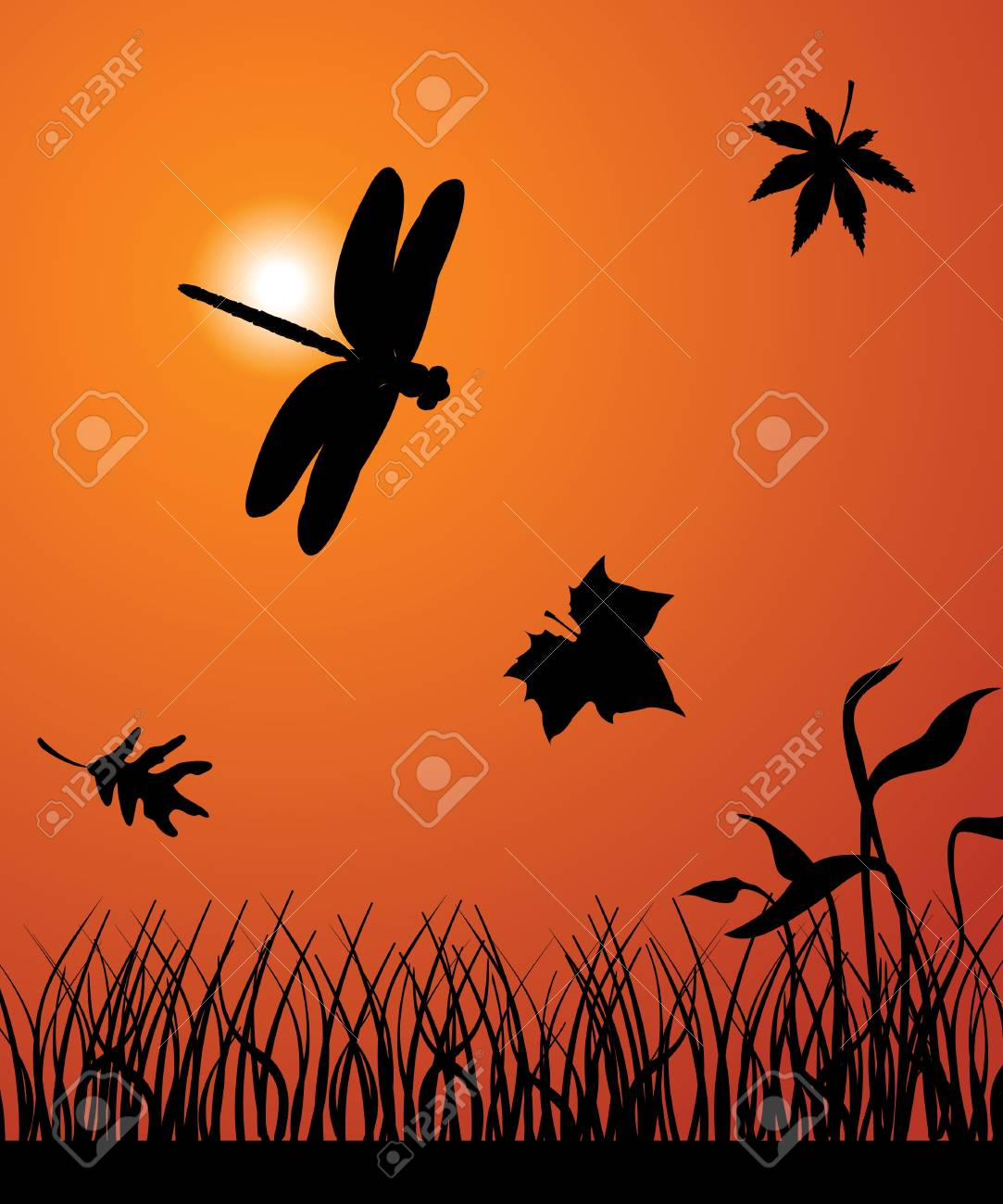 The dragonfly flies among falling leafs Stock Vector - 9829501