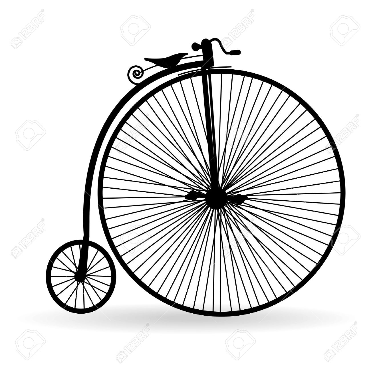 Silhouette of an ancient bicycle on a white background Stock Vector - 10763667