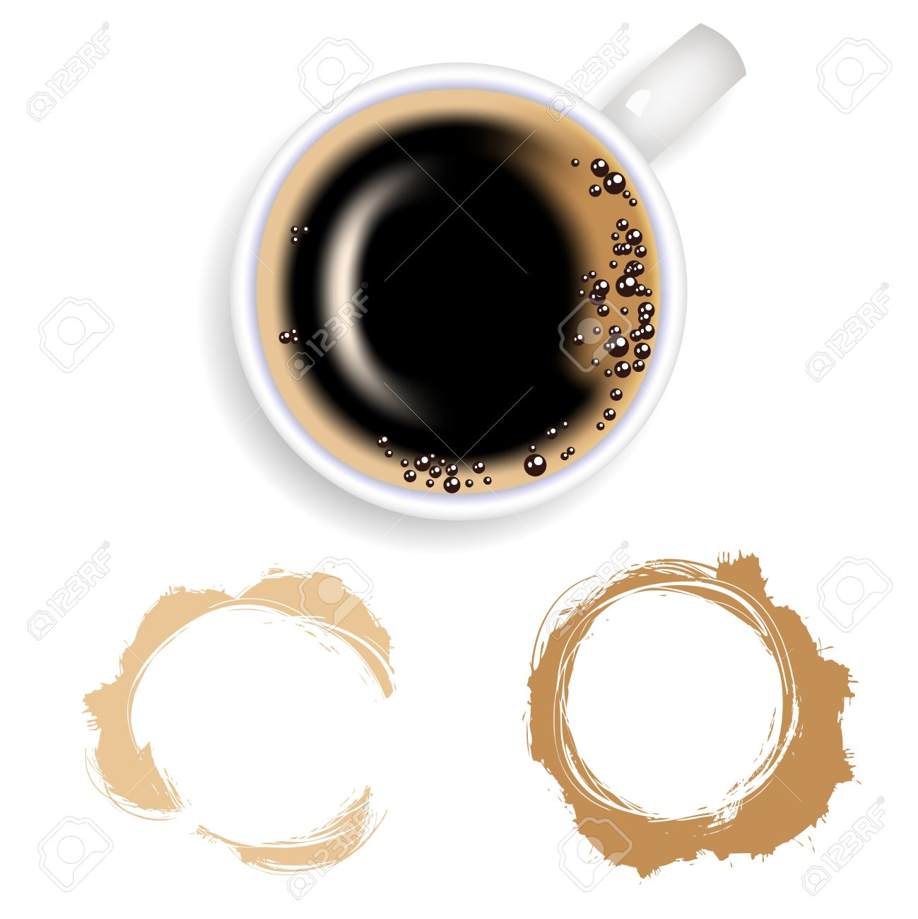 Stain from coffee. Coffee cup from coffee on a white background Stock Vector - 11040599
