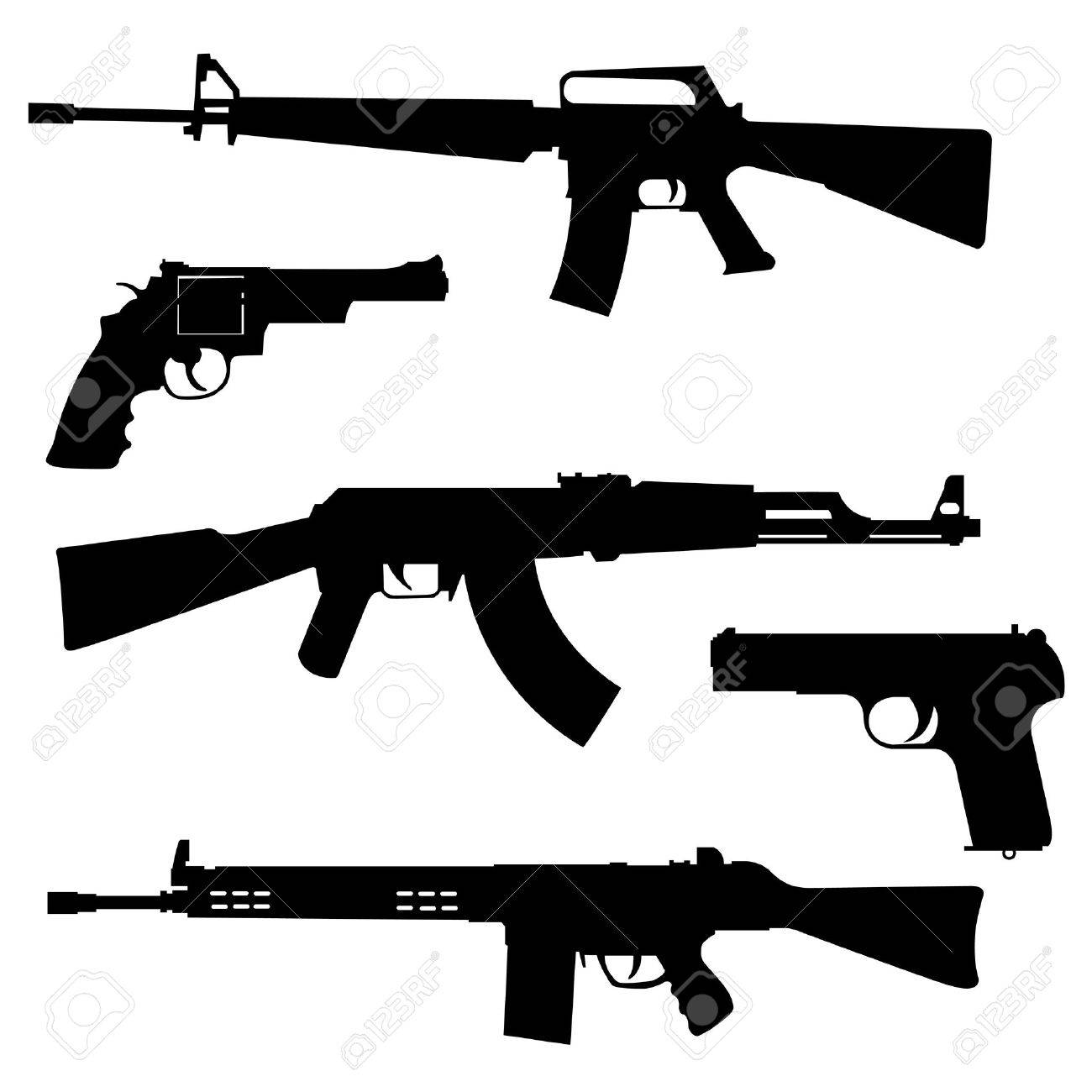 Silhouettes of pistols and submachine gun on a white background Stock Vector - 11624530