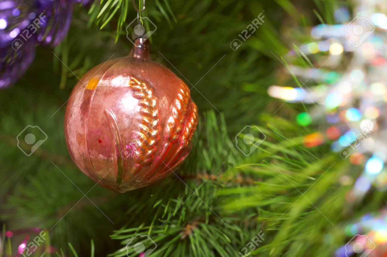 Xmas tree. Red glass sphere.  Sparkling tree ornament Stock Photo - 11782098
