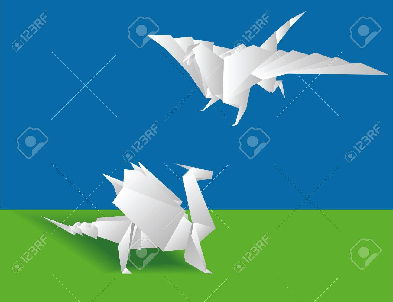 Photo of origami green dragon isolated on white background — Stock ... | 1000x1300