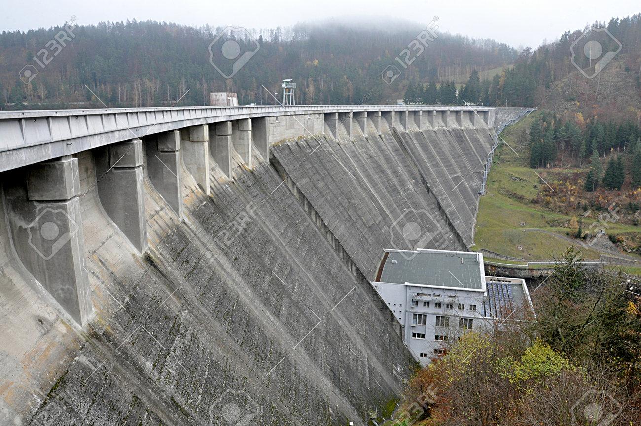 high concrete dam, Vyr, Czech republic, Europe - 161479254