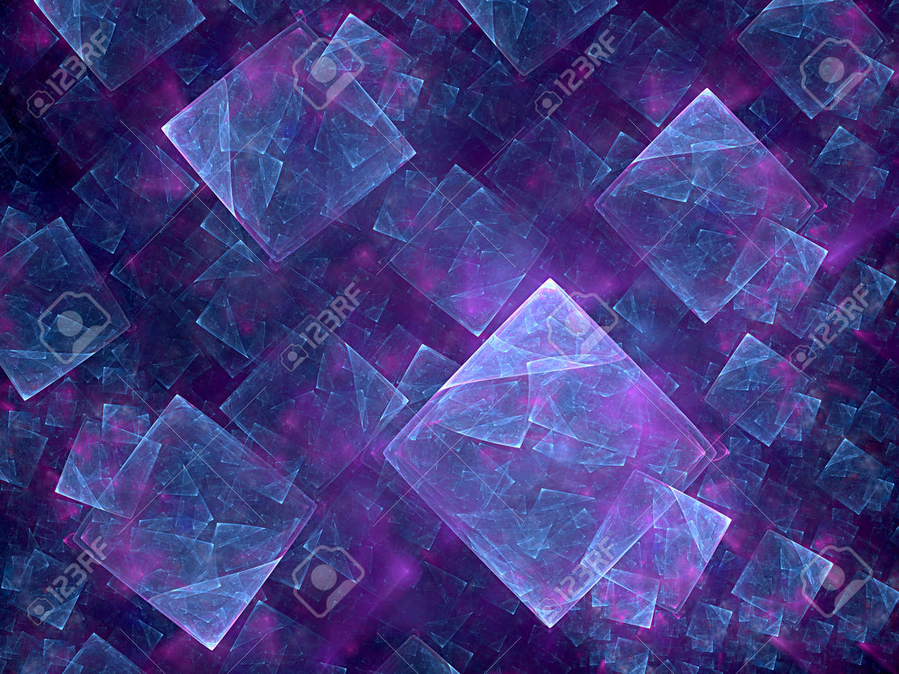 blue cube and nice fractal - 162562300