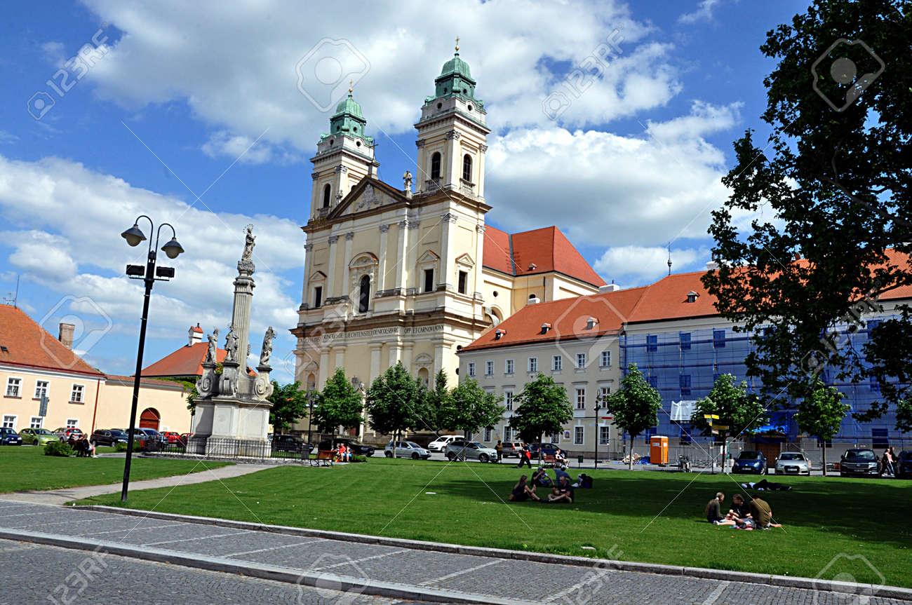 church and city Valtice, Czech republic, Europe - 165600705