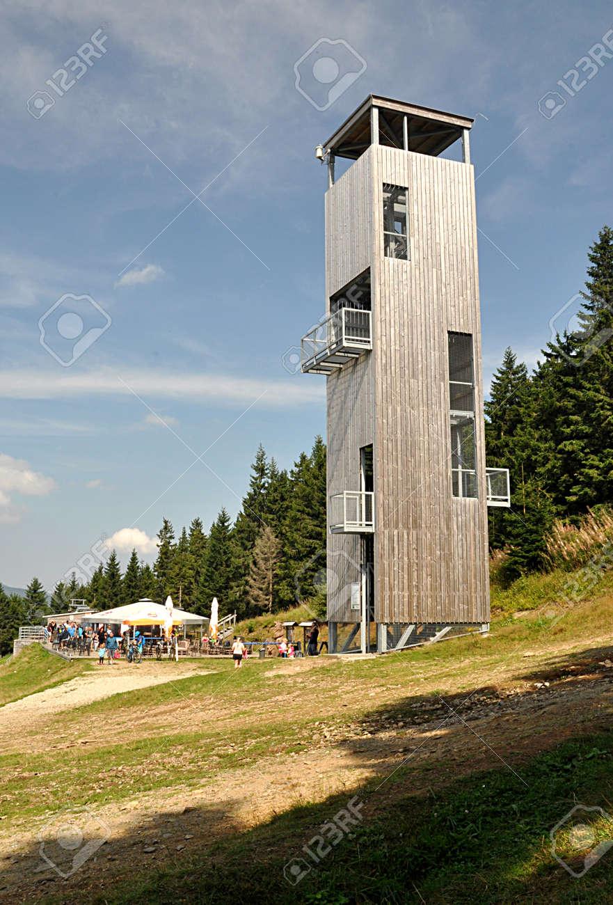 high wood tower, mountain Jeseniky, Czech republic, Europe - 166086713
