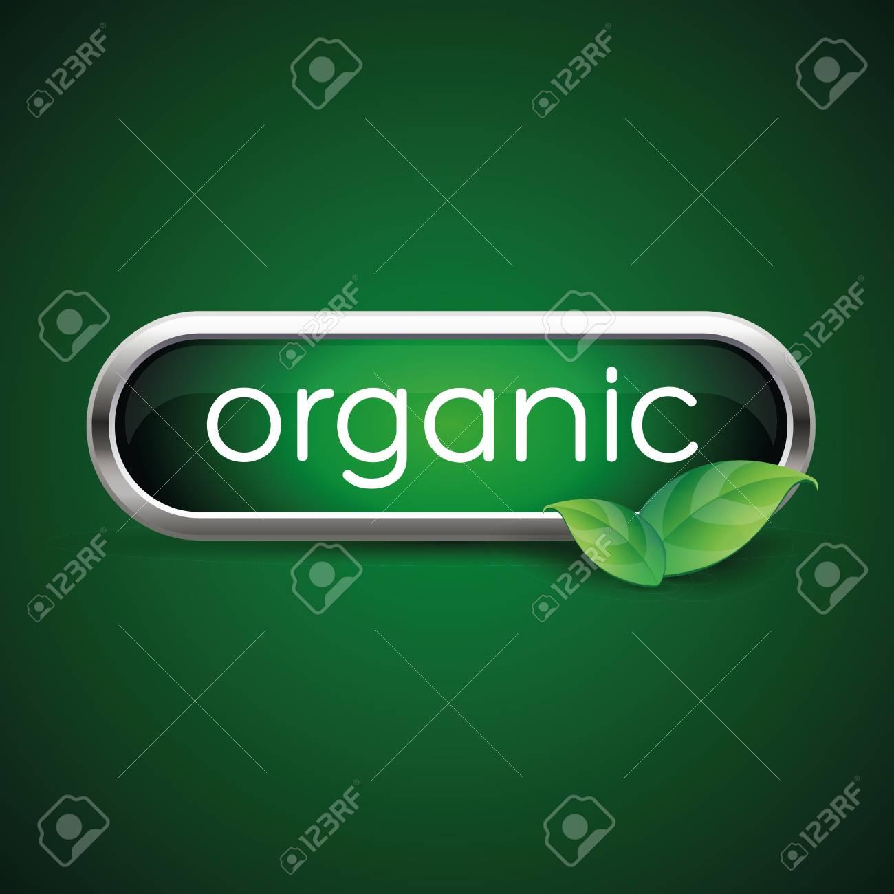 Organic label green button - 37288936