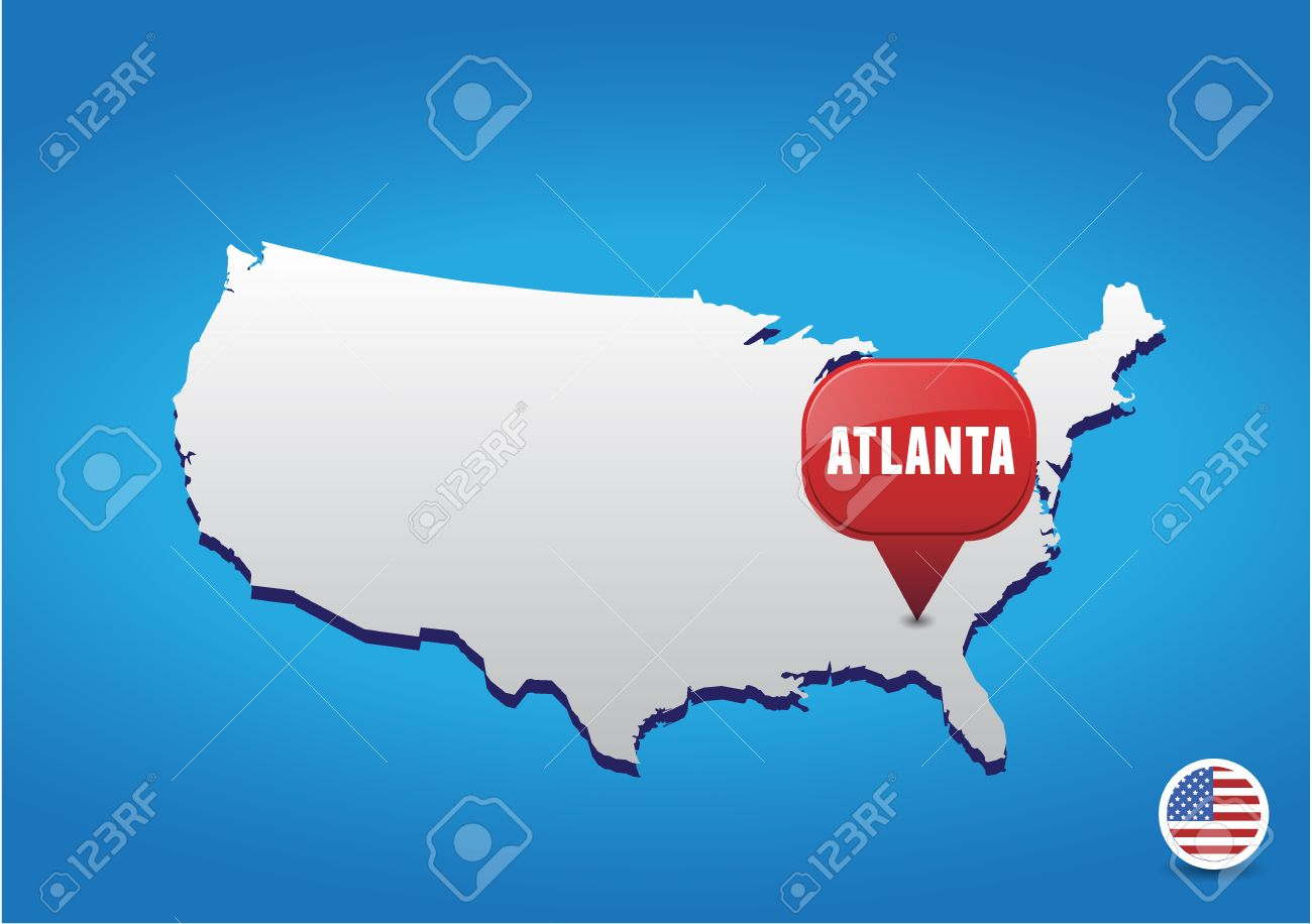 Atlanta On USA Map Royalty Free Cliparts Vectors And Stock - Atlanta on us map