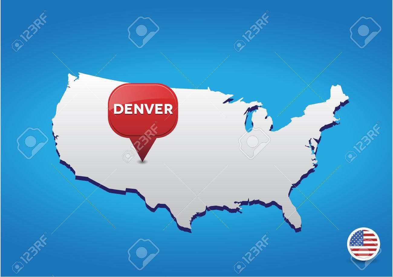 denver on usa map stock vector 38212473