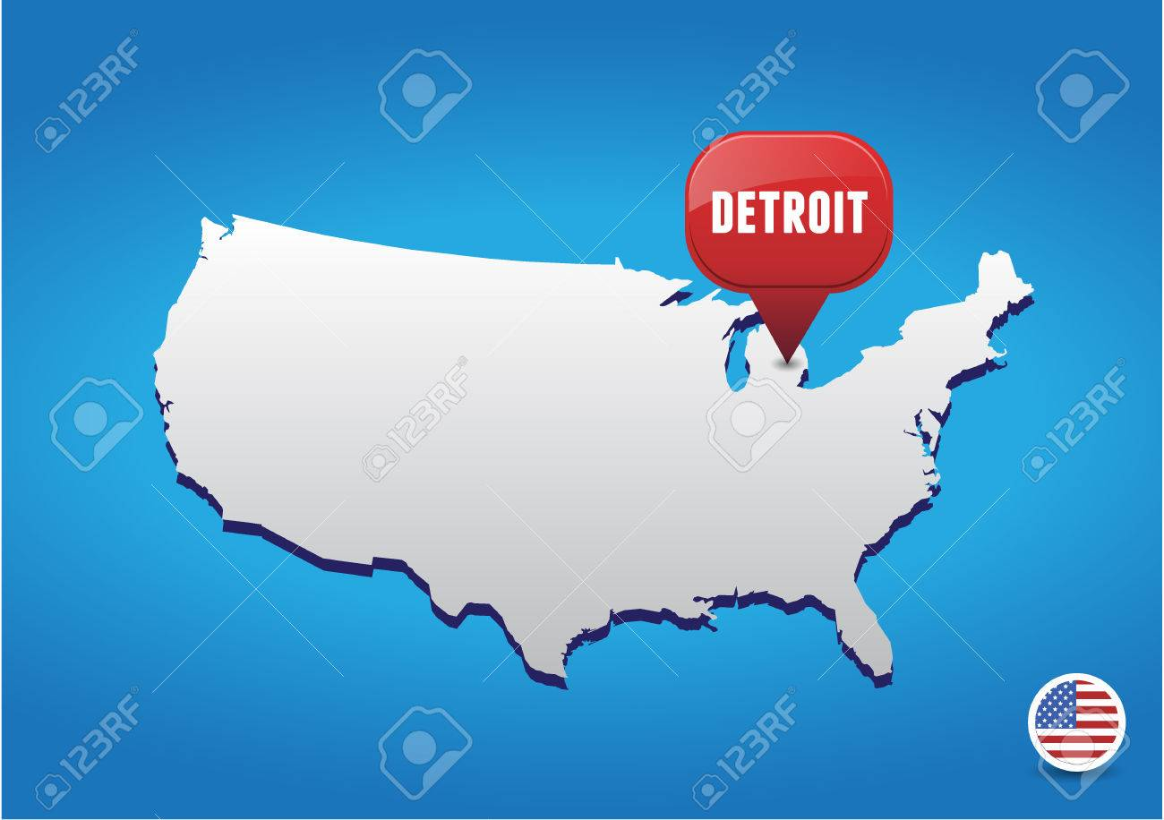 Detroit On USA Map Royalty Free Cliparts, Vectors, And Stock ... on