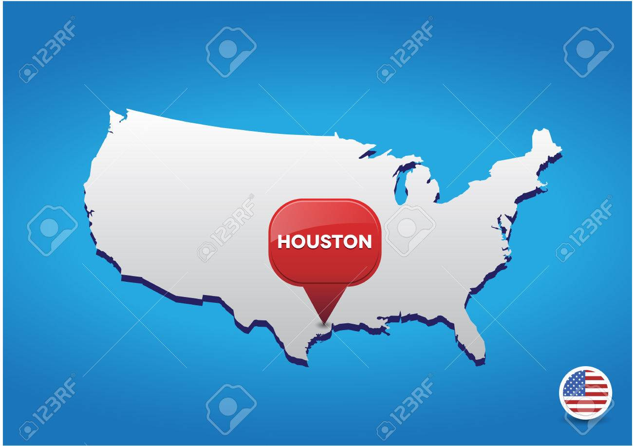 Usa Map With Names Of States And Cities Stock Photo Stock Images - Houston on us map