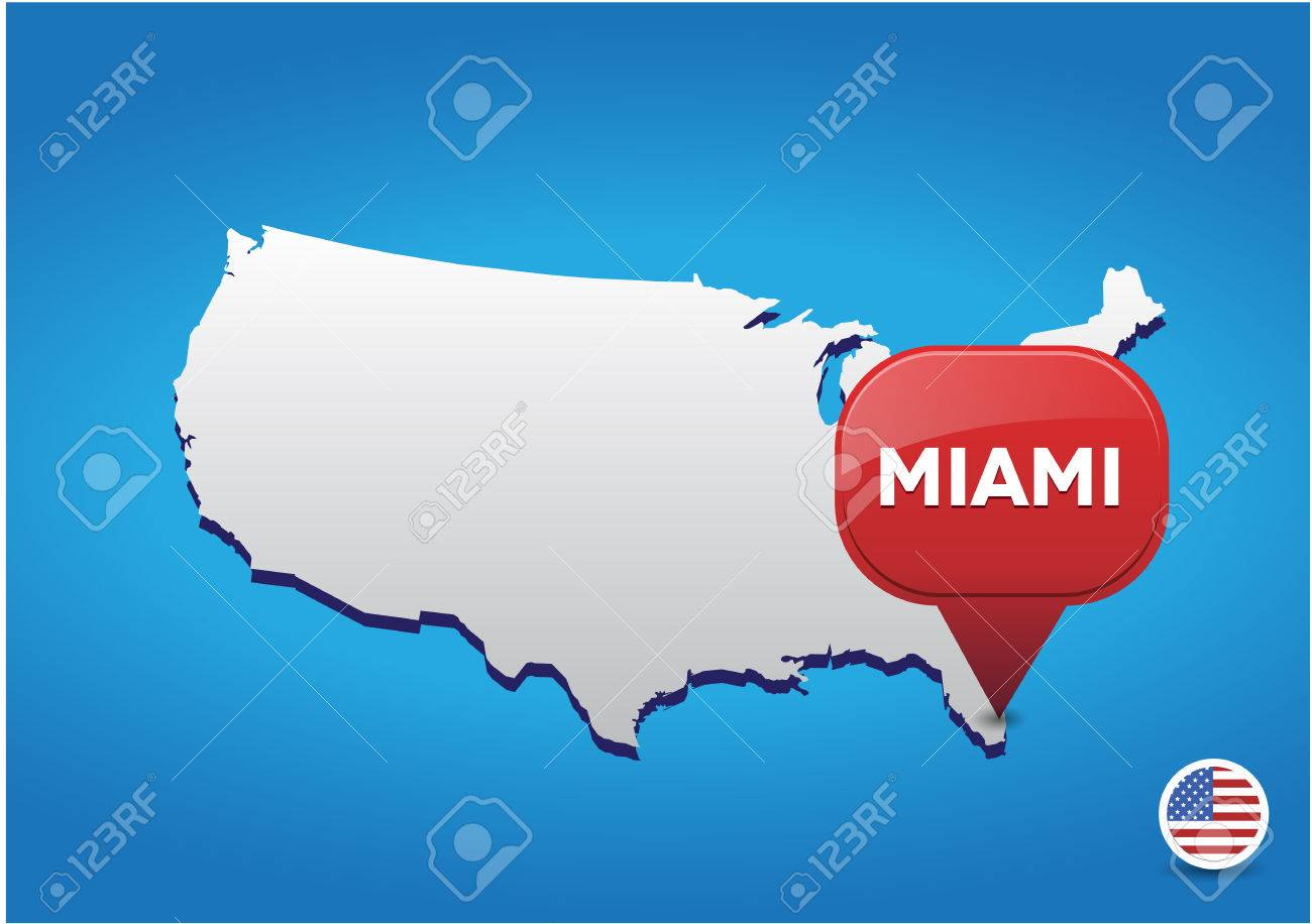 Miami On USA Map Royalty Free Cliparts Vectors And Stock - Miami on us map