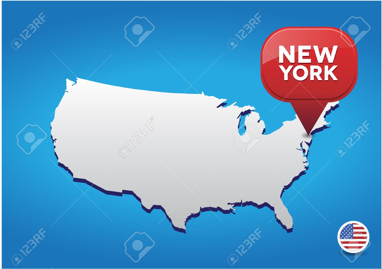 New York City On USA Map Royalty Free Cliparts Vectors And – Map of New York City New York