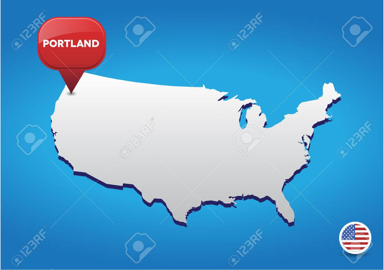 Portland On USA Map Royalty Free Cliparts Vectors And – Map Usa Portland