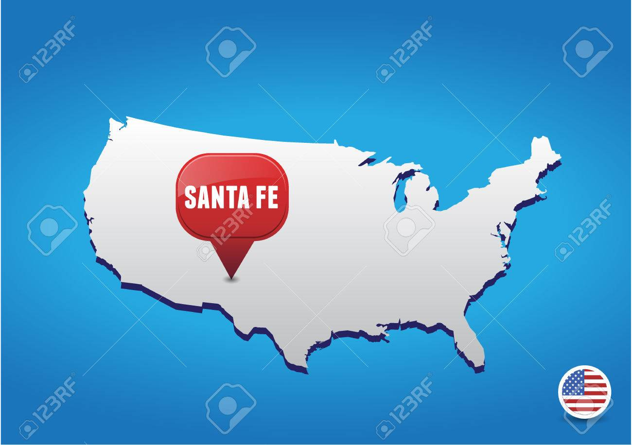 Santa Fe On USA Map Royalty Free Cliparts Vectors And Stock - Santa Fe On Us Map