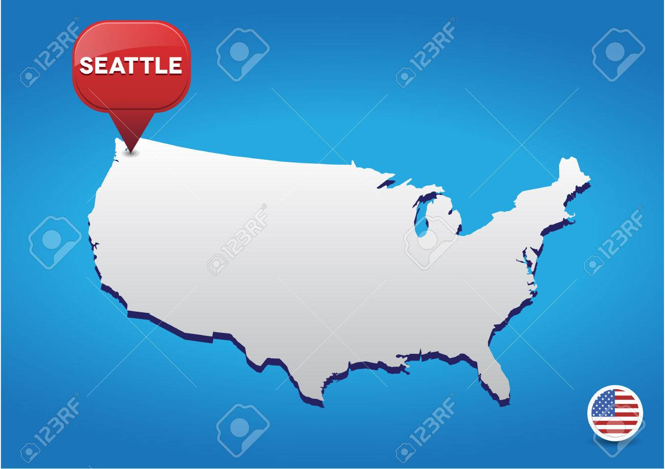 Seattle On Usa Map Royalty Free Cliparts Vectors And Stock