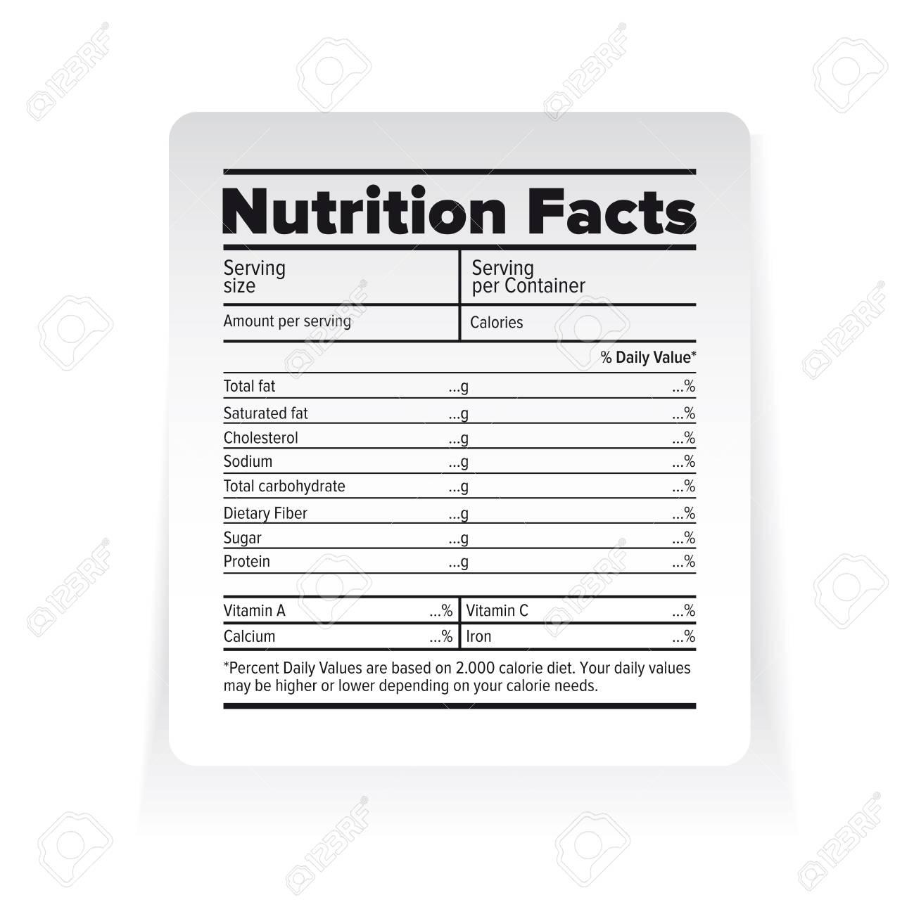 栄養物の事実のラベル ベクトル ...