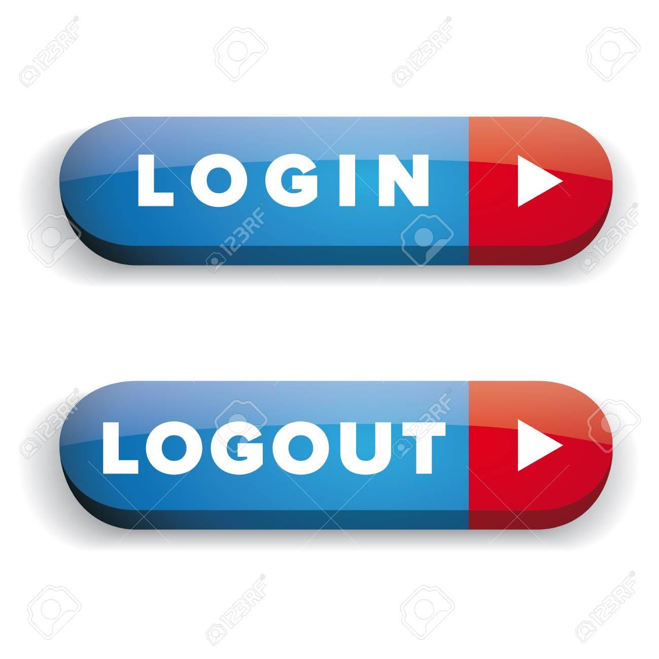 Login Logout Button Vector Set Royalty Free Cliparts, Vectors, And ...