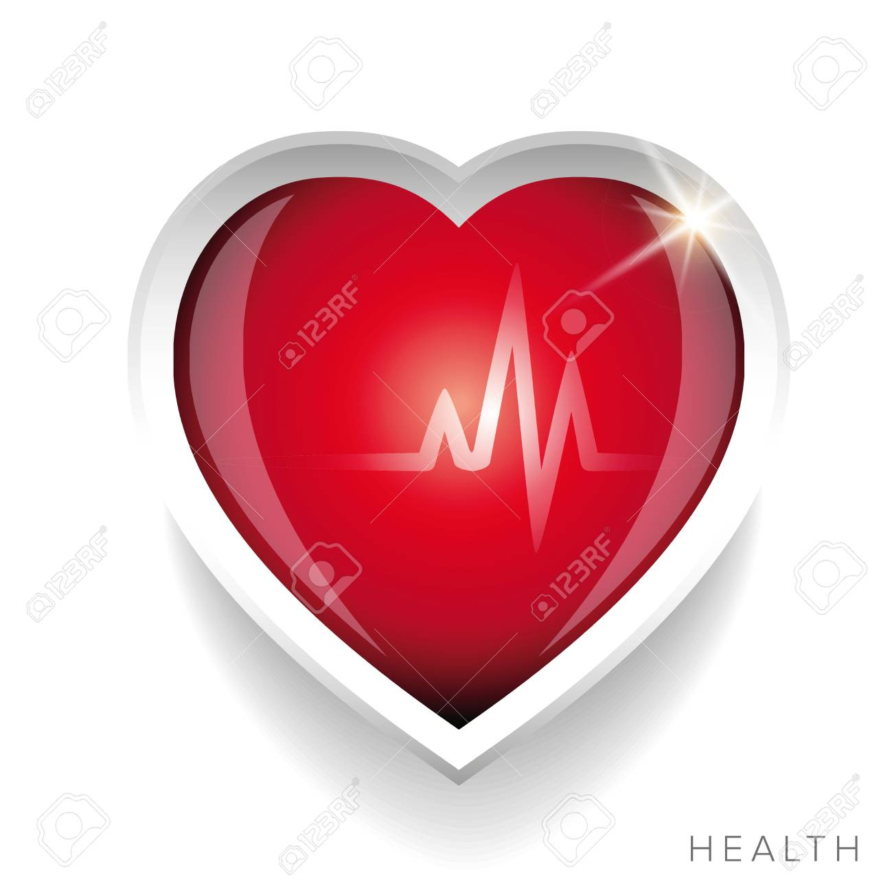Cardiogram and red heart vector - 50437484