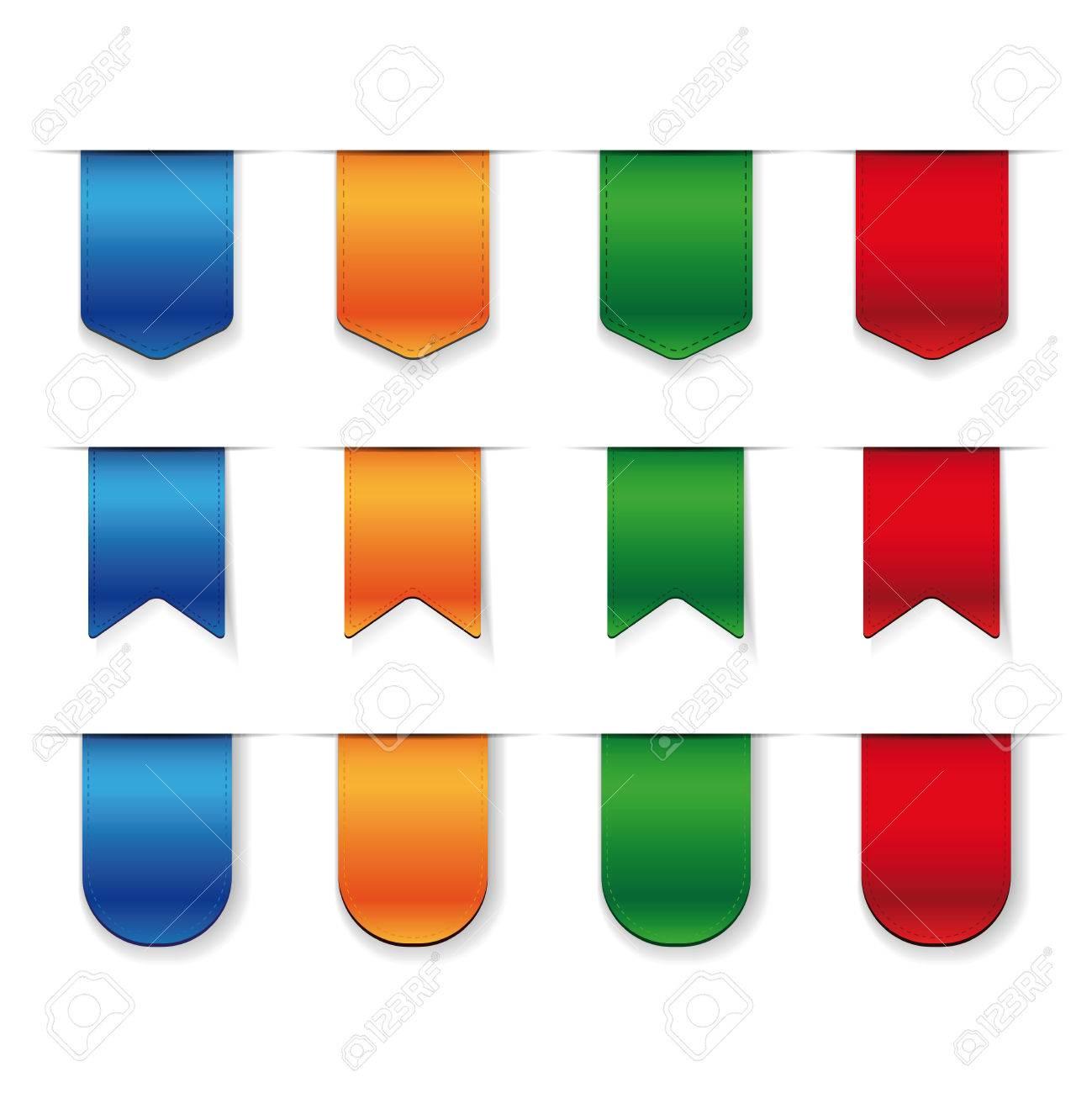 Vector Ribbon set - red, blue, green, orange - 54959887
