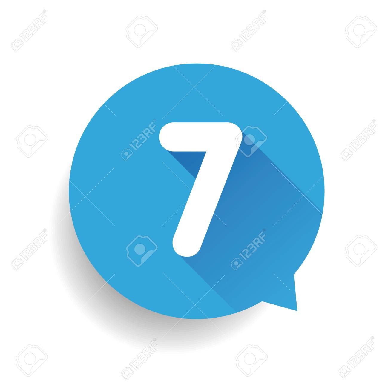 Number seven 7 speech bubble blue - 57365404