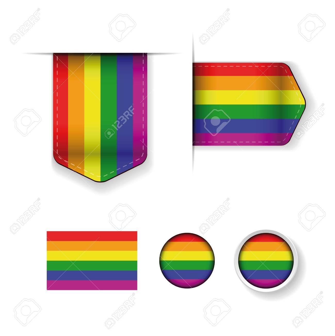 Rainbow Flag Lgbt Symbol Ribbon Set Royalty Free Cliparts Vectors