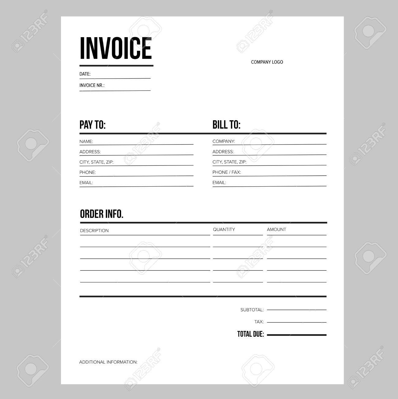 Invoice / Business Template - Letter USA Standard Paper Royalty ...