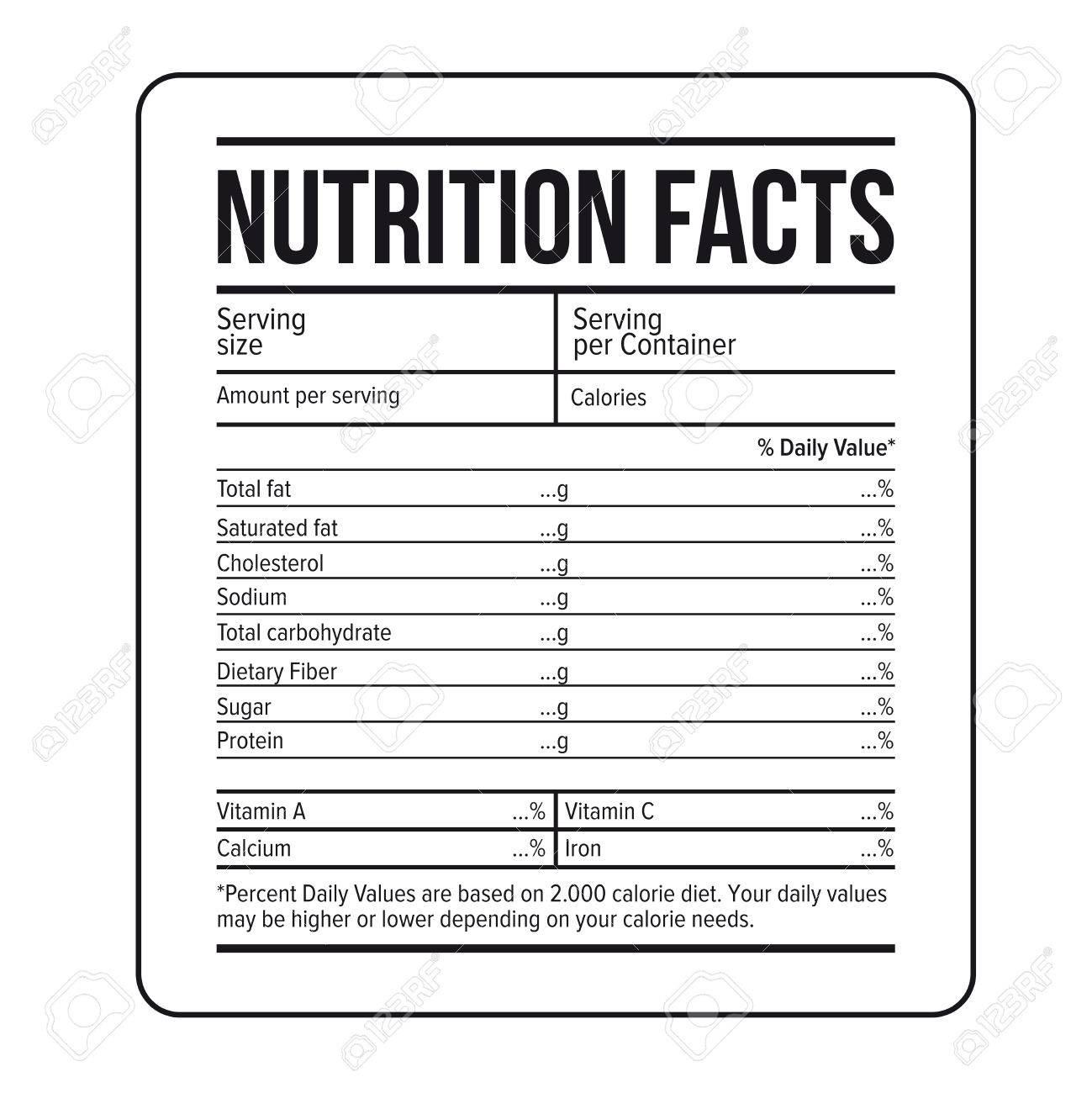 nutritional labels template