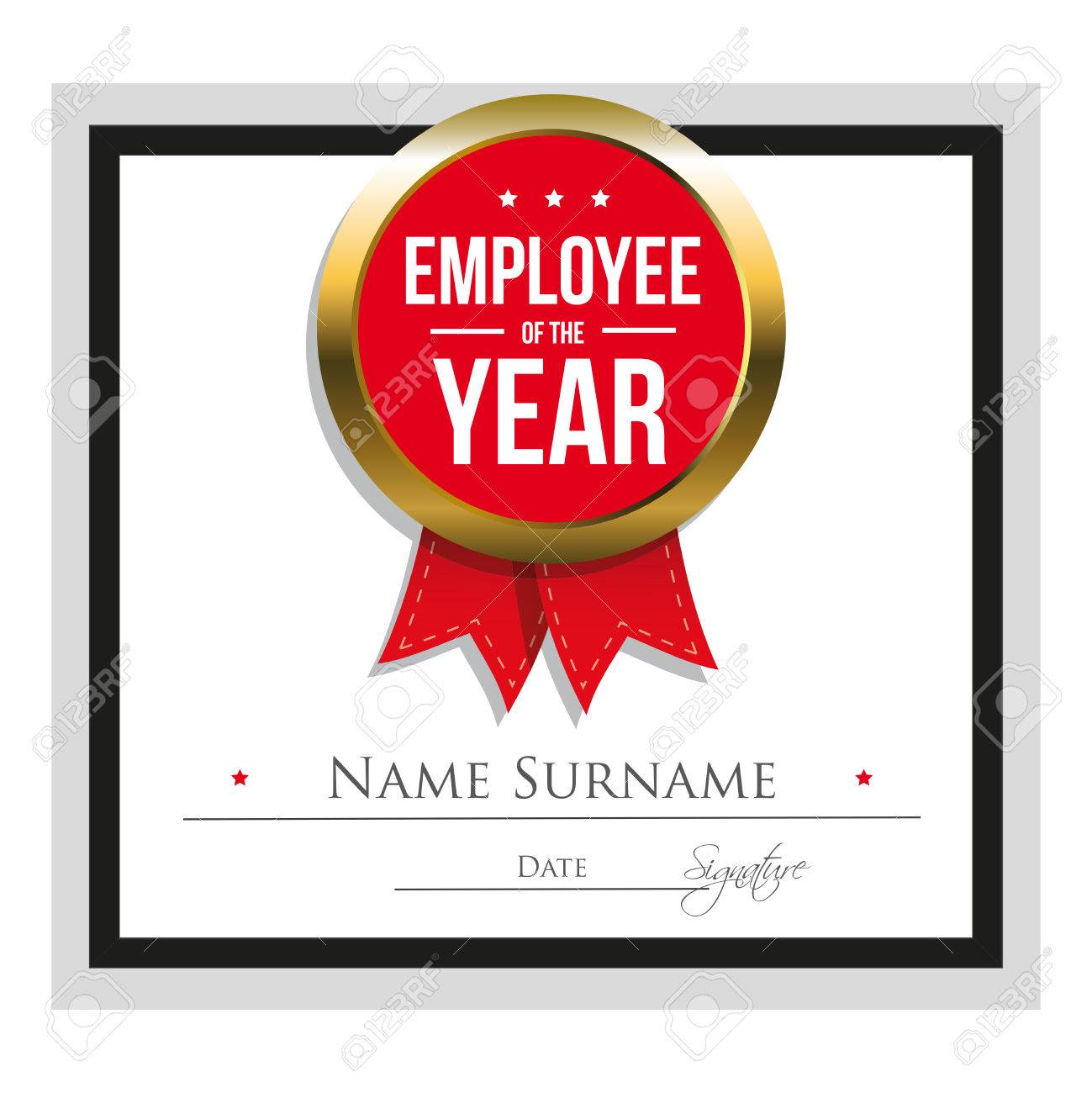 Employee Of The Year Certificate Template Royalty Free Cliparts