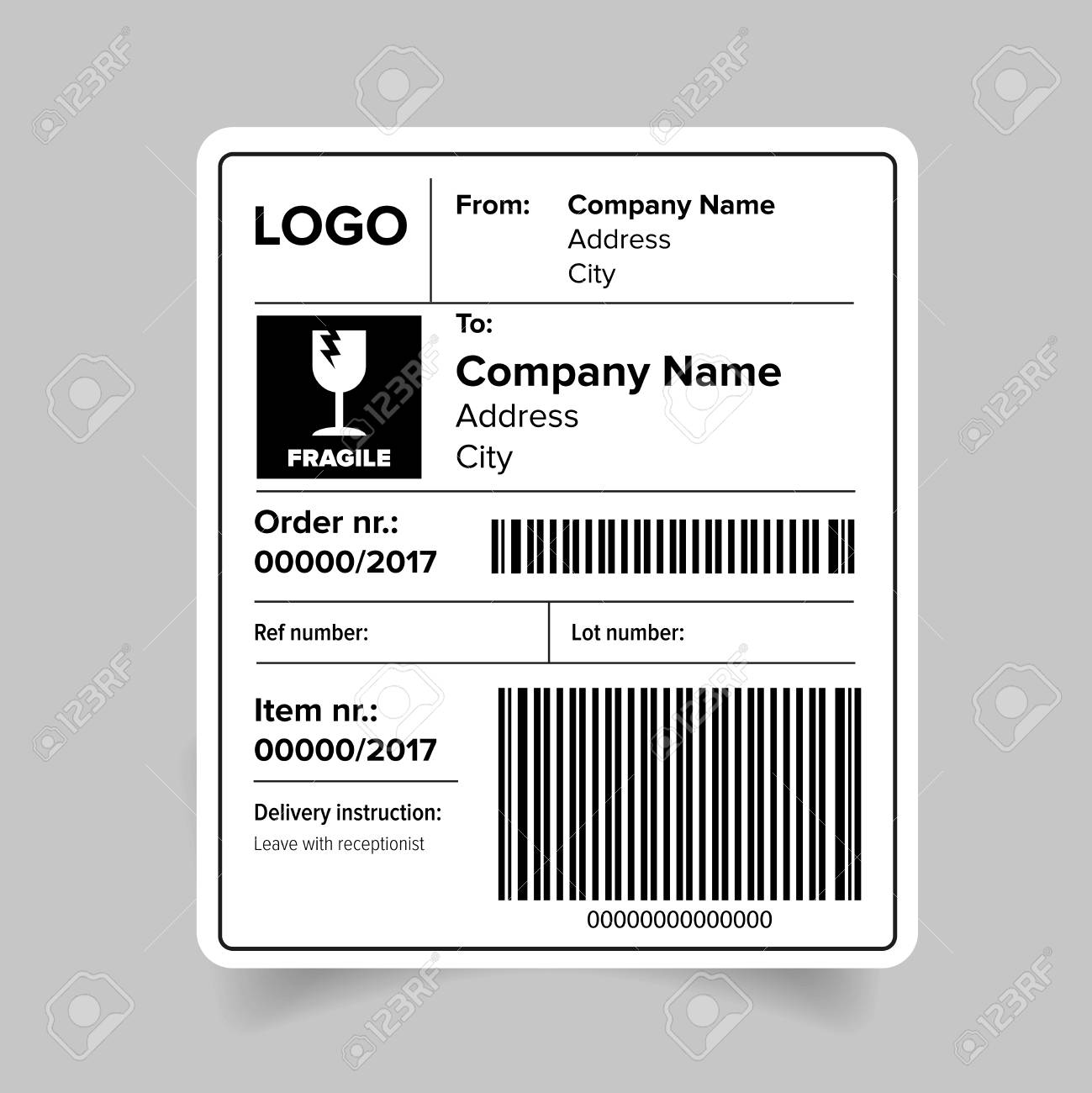 Shipping Label Barcode Template Vector Royalty Free Cliparts ...