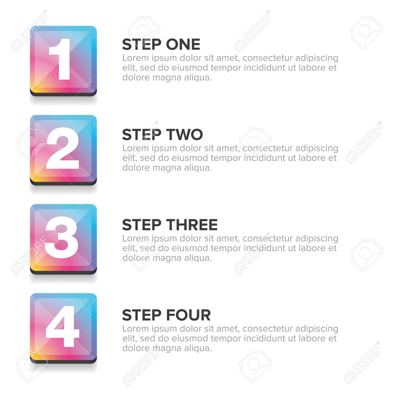 One Two Three Four steps progress bar vector
