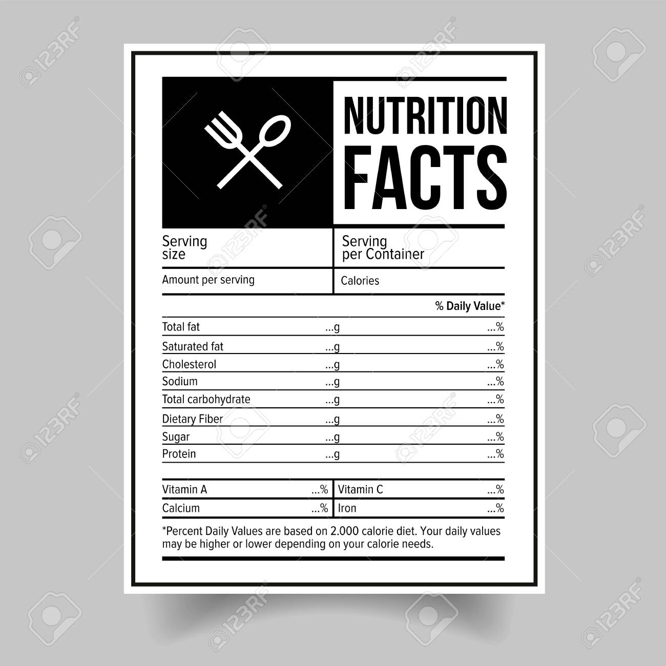 Nutrition Facts food label sticker - 139620739