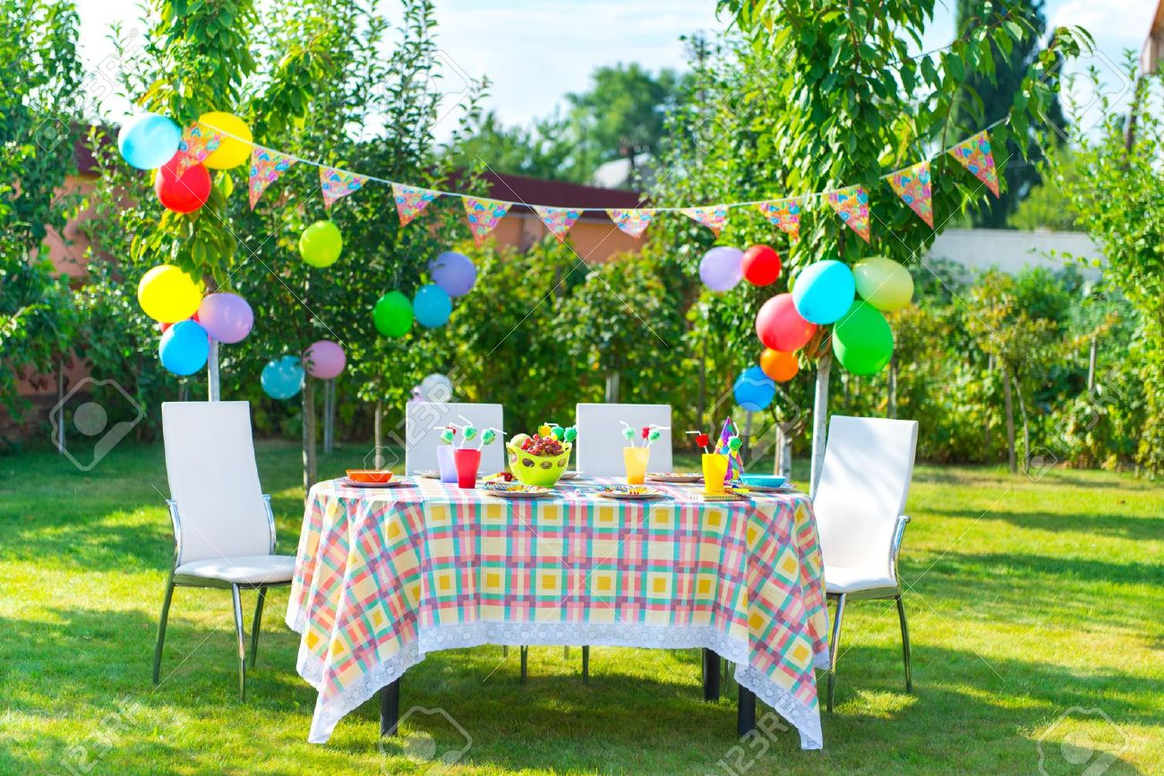 Prepared Birthday Table In Summer Green Garden Stock Photo, Picture ...