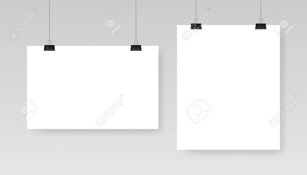 Blank white poster template. Affiche, paper sheet hanging on a clip. Vector advertising banner mockup stand exhibit. - 150319416