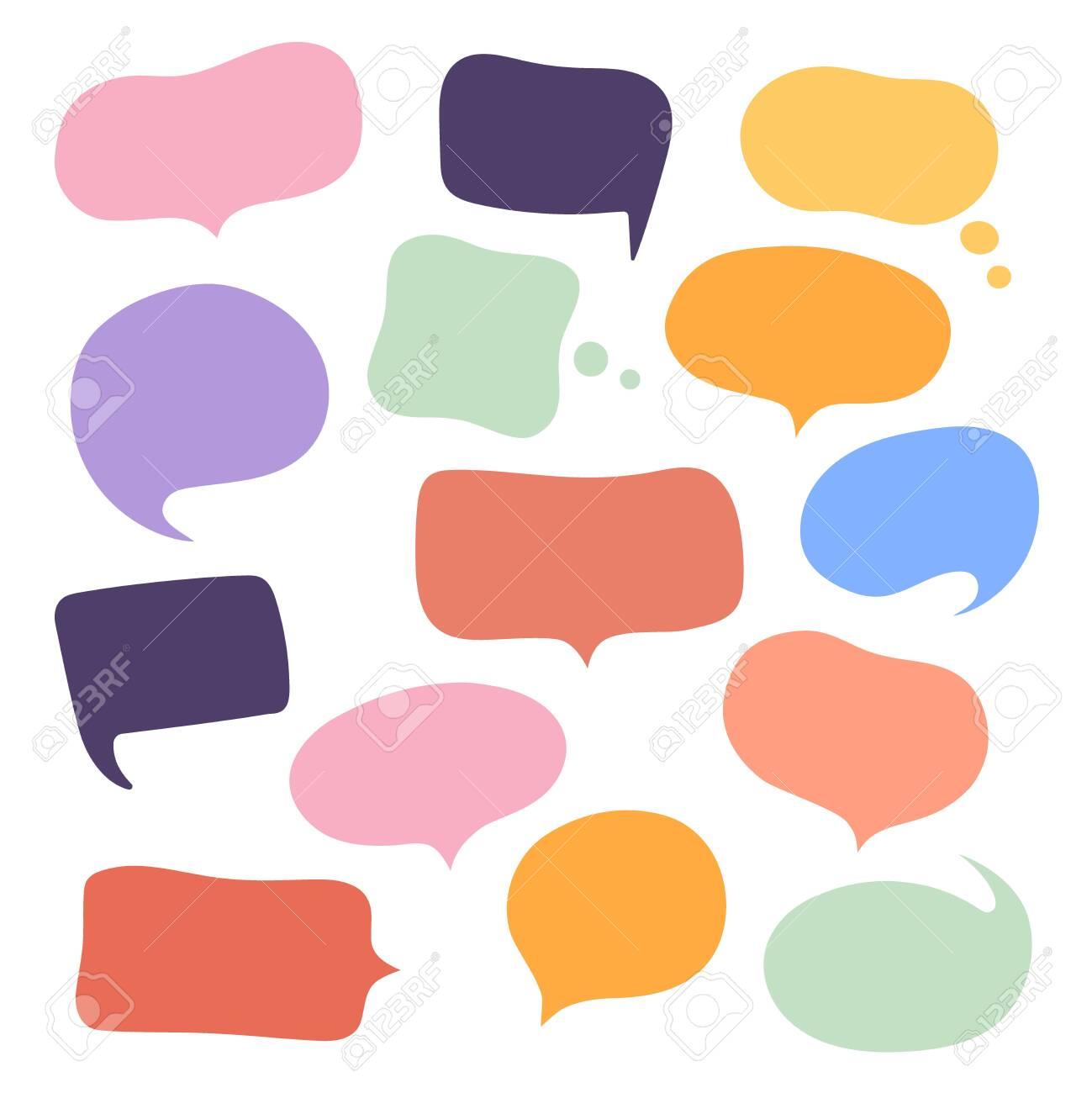 Set different hand-drawn speech bubble. Talk chat speak message. Empty blank comment. Vector illustration design. - 151571205