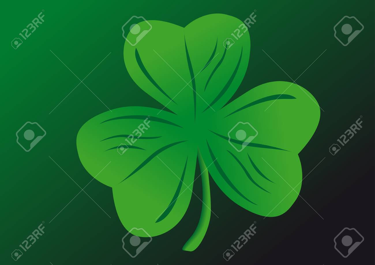 Vector shamrock on a green background Stock Vector - 2384436